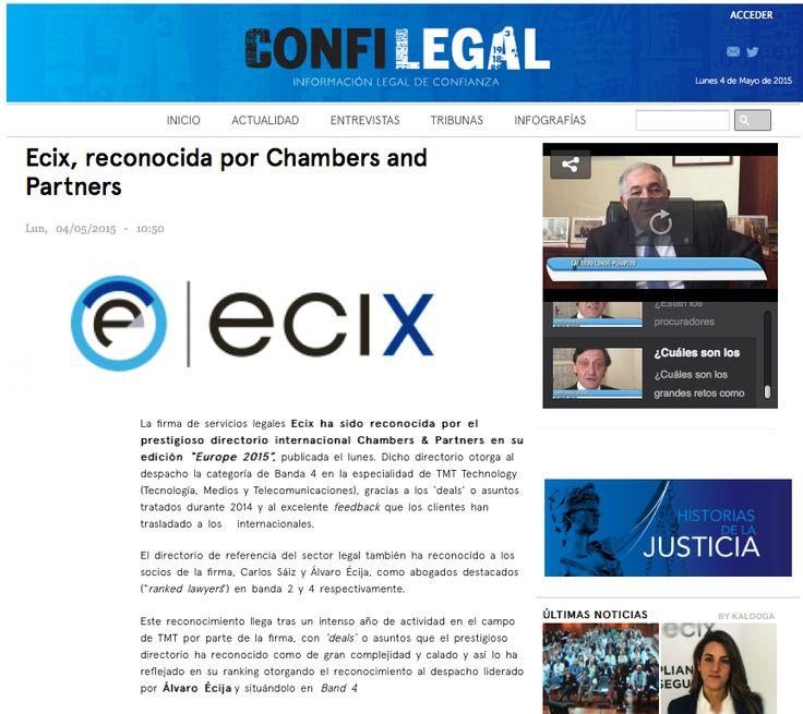 El diario Confilegal publica hoy la noticia del reconocimiento de nuestro despacho en #Chambers. Agradecemos la difusión de esta noticia tan importante para nosotros a todos los medios españoles.