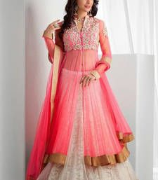 Buy Pink net embroidered semi stitched salwar with dupatta anarkali-salwar-kameez online