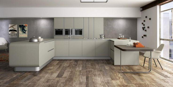 beige keuken op houtvloer