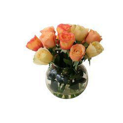 SIL093 mini rose arrangement in fish bowl vase