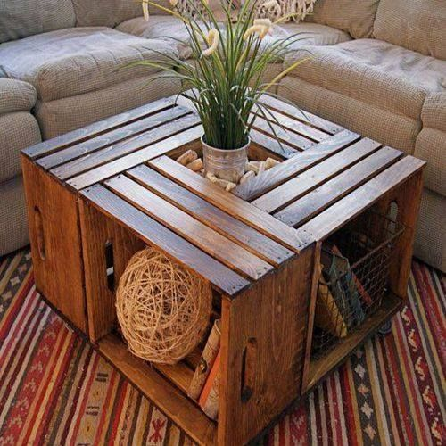 Vegetable Crates Used As A Living Room Table
