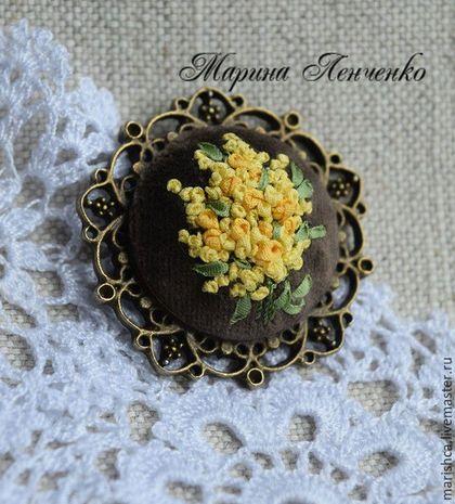 """Кулоны, подвески ручной работы. Ярмарка Мастеров - ручная работа. Купить Кулон """"Мимоза"""". Handmade. Желтый, весенние цветы"""