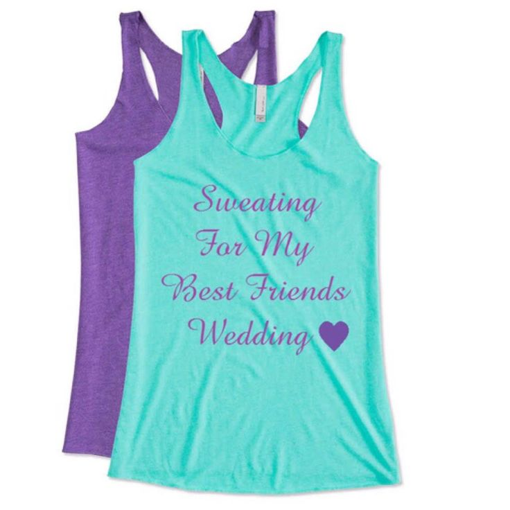 Sweating for my best friends wedding. Bachlorette Shirts. Bridesmaid tank top. Bridal party tank.Maid of honor tank Bridal.Workout tank tops by FutureMrsToBee on Etsy