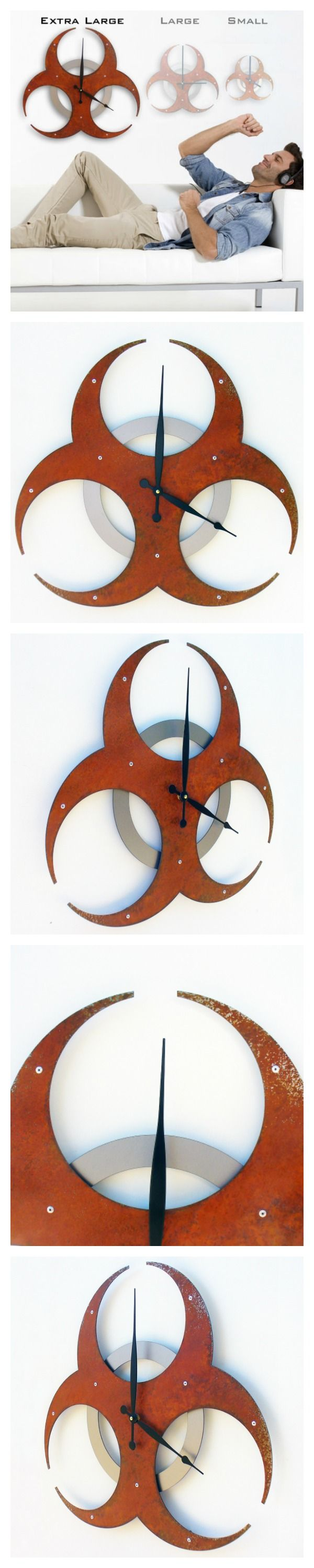 Best 25 extra large wall clock ideas on pinterest designer wall do you need a large clock for your home then you need to check out this biohazard rusted extra large wall clock modern wall clock industrial wall clock amipublicfo Gallery