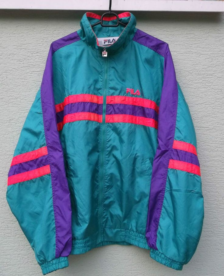 Vintage Retro Style FILA Tracksuit Top Jacket  NEON stripes Size 52  XL RARE VGC