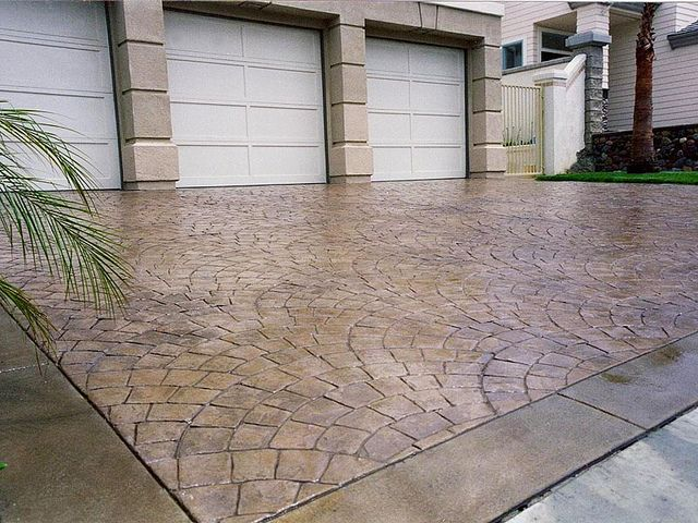Stamped Concrete Driveways | Stamped concrete driveway fan pattern | Flickr - Photo Sharing!