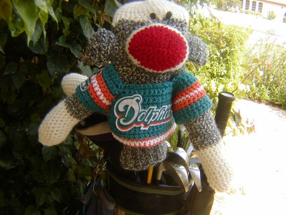 Sock Monkey Golf Club Cover  Miami Dolphins or by pillowtalkswf, $40.00