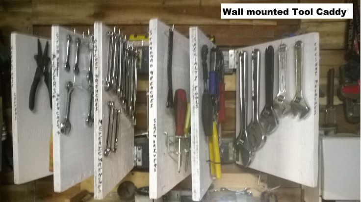 Wall Mounted Tool Organizer made from scrap wood from construction site