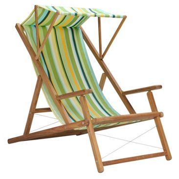 Check out this item at One Kings Lane! Cabin Deck Chair w/ Awning, Lime