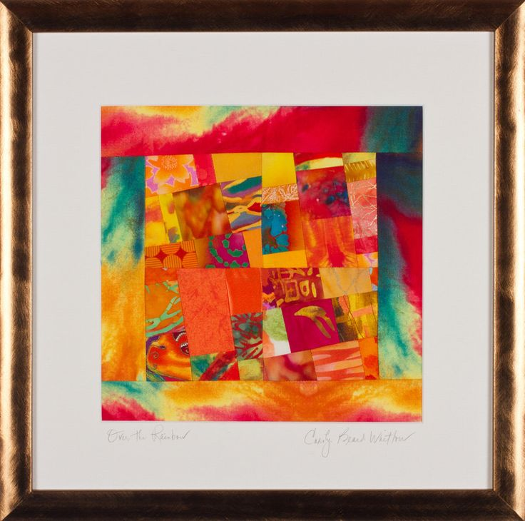 OVER THE RAINBOW: Fine Art Framed Art Quilt in Orange Yellow Turquoise Fuschia by ColorQuiltsbyCarolyn on Etsy https://www.etsy.com/listing/163291579/over-the-rainbow-fine-art-framed-art