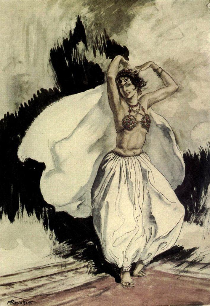 """Anitra's Dance. """"Peer Gynt"""" (1936) illustrated by Arthur Rackham"""