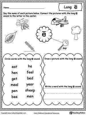Long E Sound Worksheet Phonics Worksheets Pinterest Worksheets
