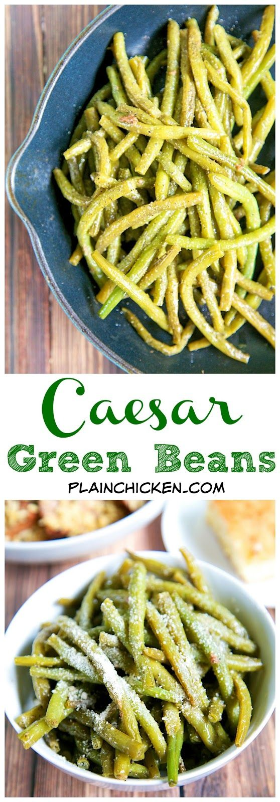 Caesar Green Beans Recipe – quick and easy side dish – only 3 ingredients! Cook …