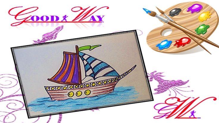 طريقة رسم وتلوين سفينة صغير شراعية وبحر How To Draw And Paint A Sailboat Cards Enamel Pins Playing Cards