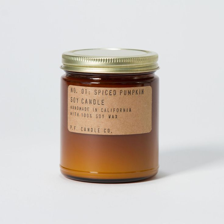 Spiced Pumpkin. Shop now at The Candle Library. P.F. Candle Co. hand pour their candles in LA using 100% soy wax.