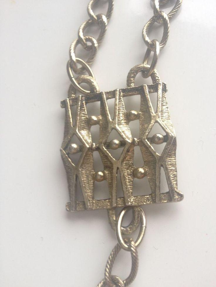 Vintage Midcentury Brutalist geometric sculptural chain belt or worn as necklace