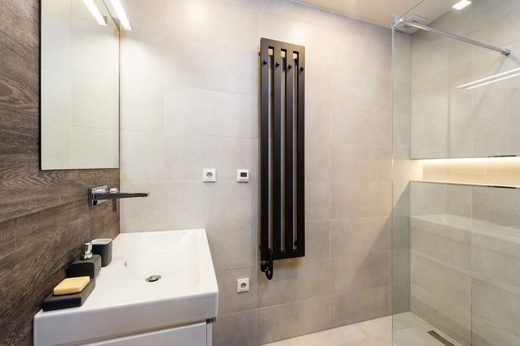Bathroom with wood decor wall