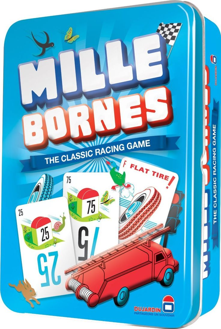 """Mille Bornes is French for """"a thousand milestones.""""Hit the road and race to win. Be the first of 2-6 players to travel 1000 miles to win this classic family favorite! Play distance cards and speed towards the finish line, or put the brakes on your opponent with nasty hazards! Drive Carefully! They'll be playing hazards on you too.. Out of Gas? Lucky you've got a Gasoline card! Accident? You'll need Repairs! Put your foot down.. It's time to play Mille Bornes! Ages 7 and up."""
