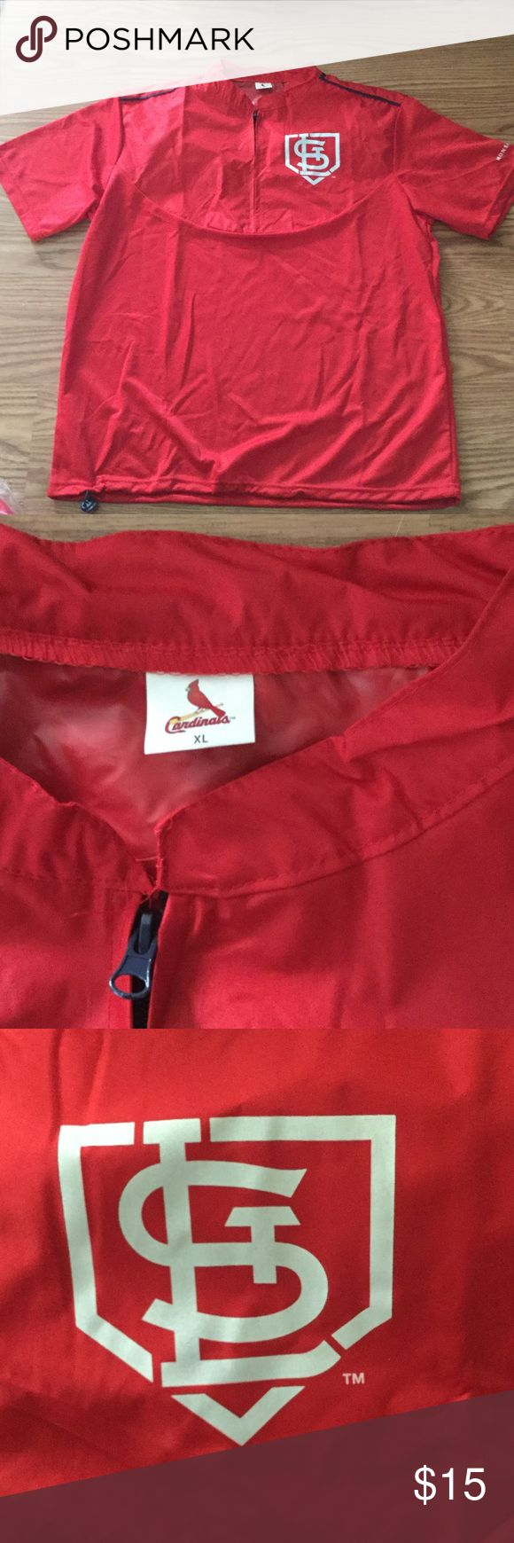 St. Louis Cardinal Fan unisex shirt Oversized fan St. Louis Cardinal shirt. 1/2 zipper front, with inside shoulder rain guard. Shoulders down back of neck trimmed with navy piping. Draw string bottom. XL, unisex. Never worn. St. Louis Cardinal Other