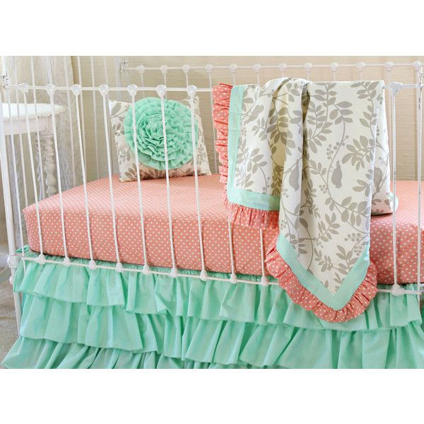 Mint Crib Bedding Bumperless Baby Girl Bedding Set in Mint and Coral... ($265) ❤ liked on Polyvore featuring home, children's room, children's bedding, baby bedding, bedding, blankets & throws, home & living and silver