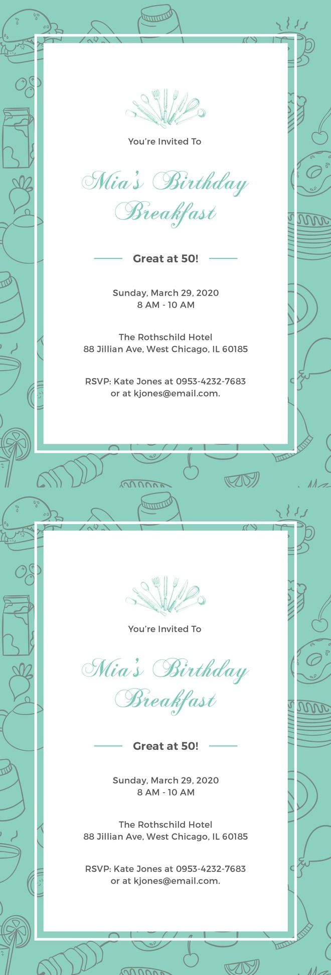 Free Birthday Breakfast Invitation Template - Downloadable Birthday Invitation Design for Breakfast & Tea Party. Get a Print Ready Template for Birthday Party Invitation. Available in PSD, Illustrator, Word, InDesign, Publisher, iPages.