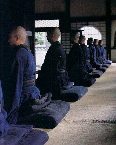 Japanese monks in indigo - Zen meditation
