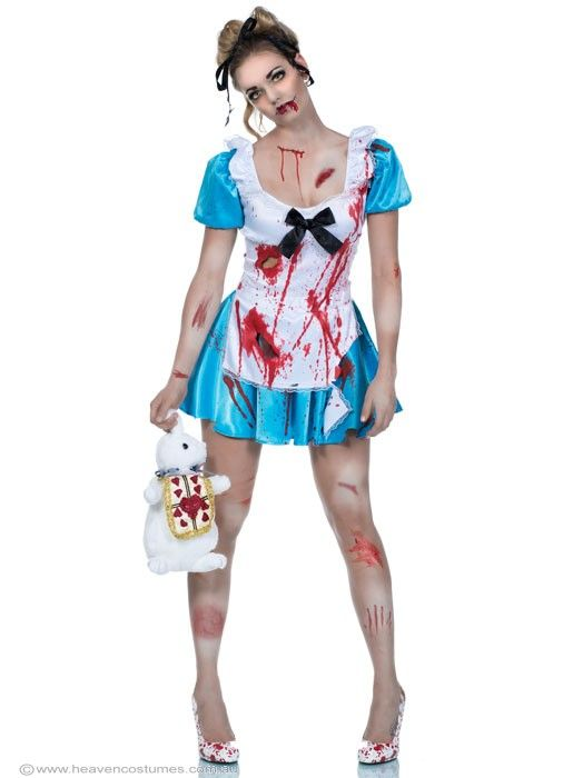 Horrorland Alice Zombie Halloween Costume - Women's Horror Alice in Wonderland Zombie Costume Where's the fairytale ending?! High quality massacred Alice in Wonderland horror zombie costume by Elevate. Unique hand painted bloody Alice Halloween costume, perfect for your next Zombie Walk or fancy dress costume party. Description:  Blue stretch satin dress with ragged cut holes and slashes, handpainted in red fake blood. Puff princess sleeves.  White satin overlay on the front.  ...