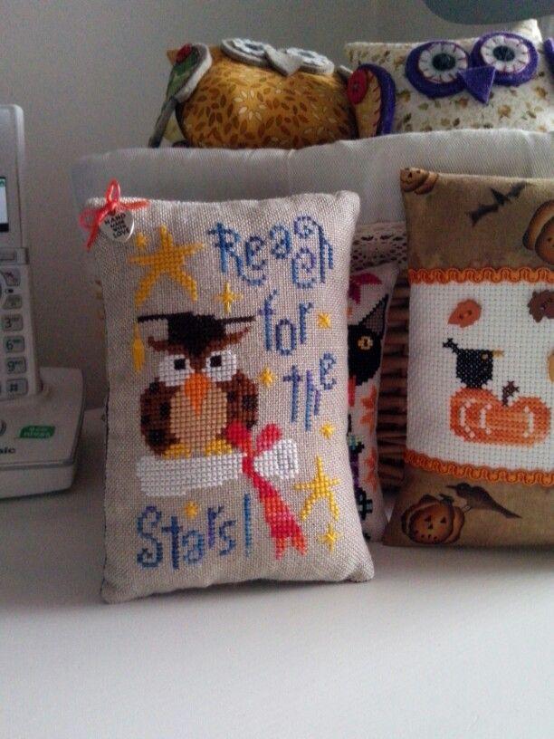 Cross stitch pin cushion, Barbara Ana.