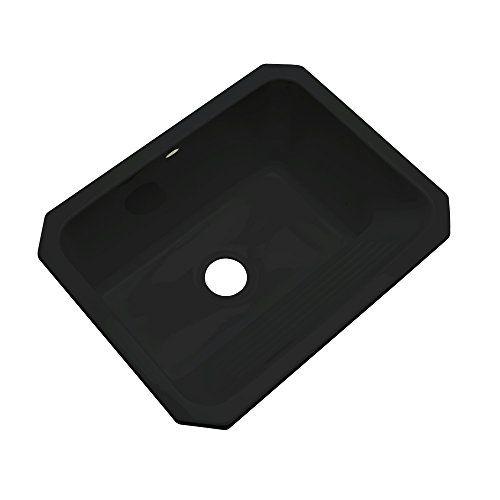 "Dekor Sinks 31099UM Richfield Cast Acrylic Single Bowl Undermount Utility Sink, 25"", Black"