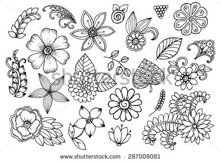 Vector set of doodle flowers                                                                                                                                                                                 More