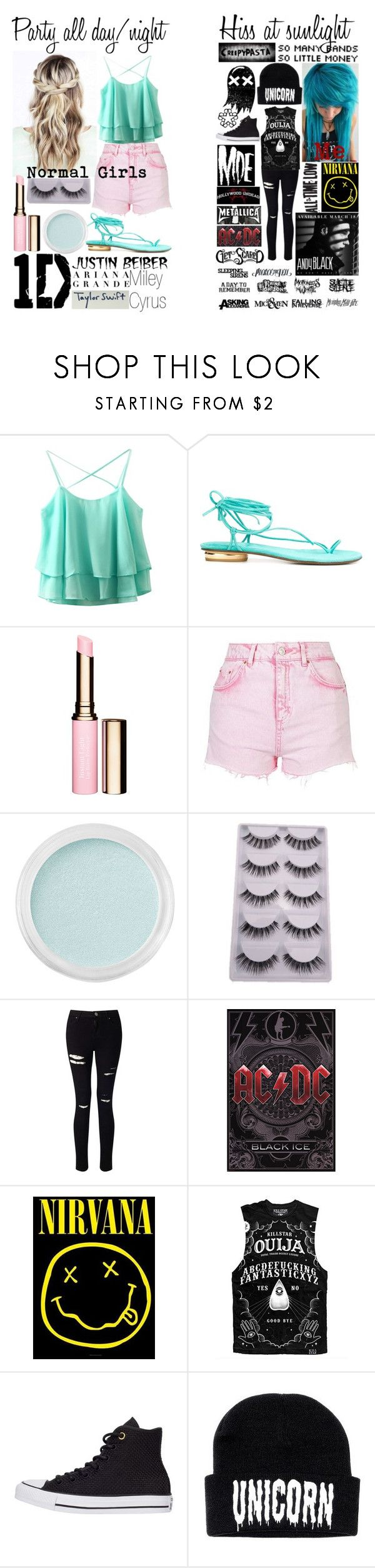 """""""Summer is comming : Normal girls vs. Me"""" by shadowgirl13 ❤ liked on Polyvore featuring Stuart Weitzman, Clarins, Topshop, Bare Escentuals, Miss Selfridge, Killstar and Converse"""