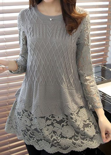 Round Neck Lace Panel Long Sleeve Grey Sweater | lulugal.com - USD $36.96