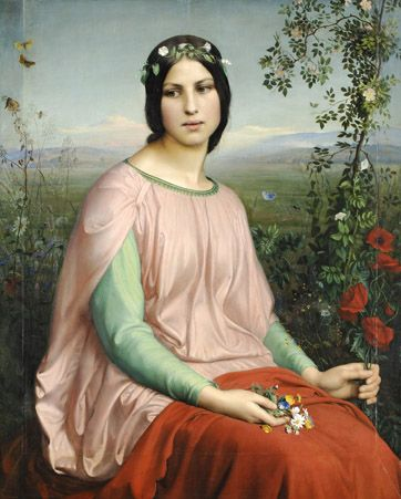 Louis Janmot, Fleur des champs, 1845 - ...Les fleurs des champs, tout comme les papillons que regarde la jeune femme, sont éphémères et la conscience de ce destin baigne le tableau de mélancolie.
