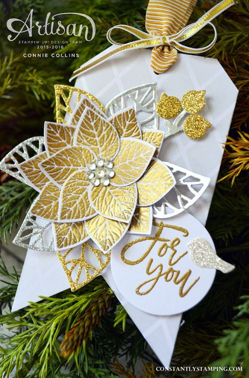 Poinsettia flower by Connie using Stampin Up Thoughtful branches only available August 2016
