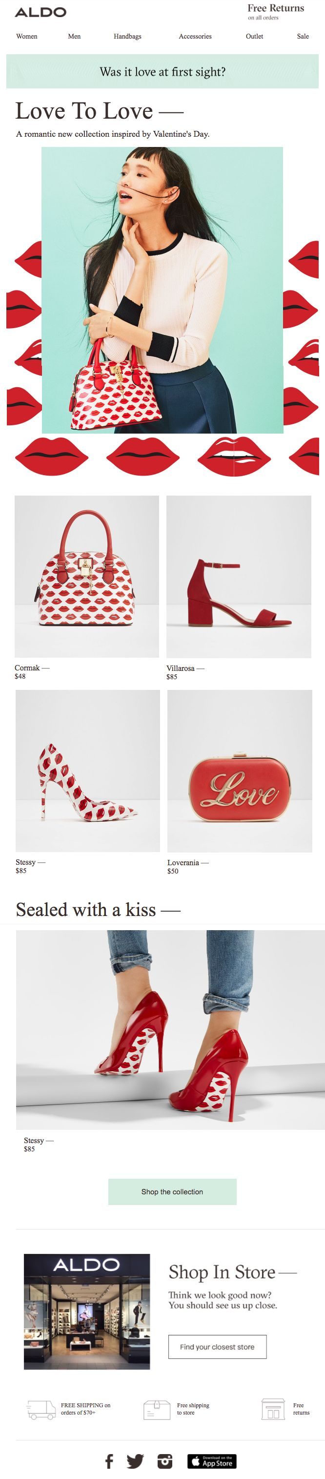 Aldo uses bright graphical elements and contrast to grab customers' attention with this marketing email.