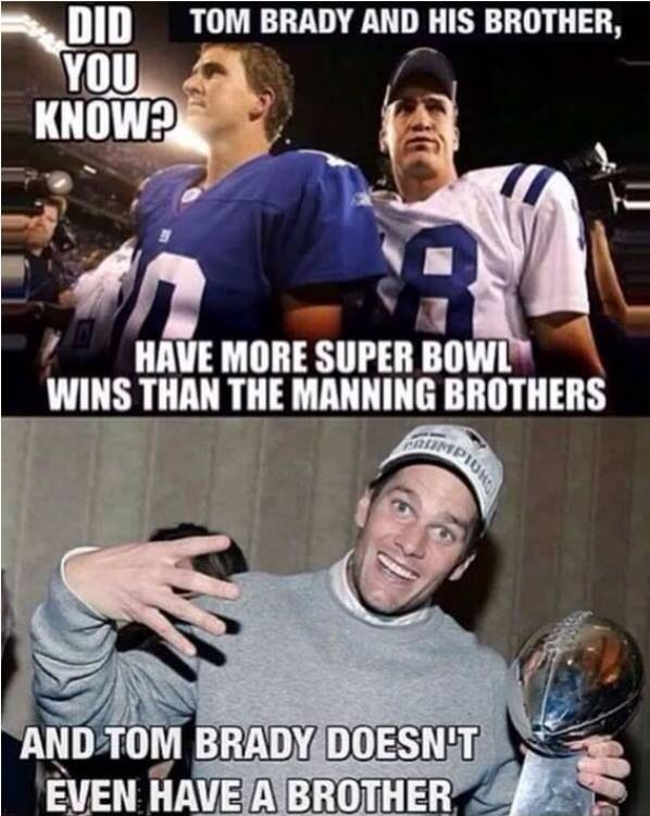 #HAHA...AND TELL ME AGAIN WHO HAS MORE RECORDS THAN TOM BRADY AND HIS INVISIBLE BROTHER...OH YEAH, PEYTON MANNING!!!