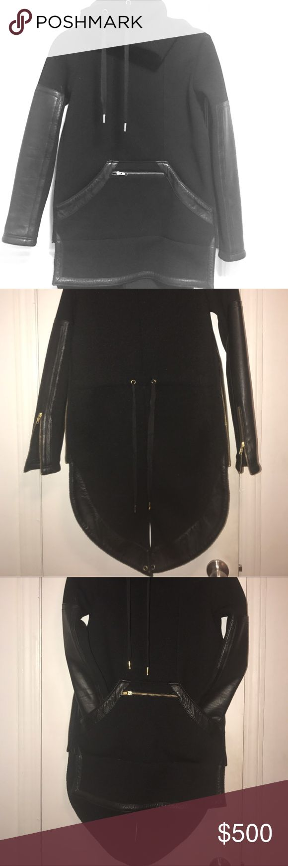 Sick Skin graft leather Jacket. On of a kind. Amazing One of a kind new sking graft leather jacket with a cape in the back. Real leather and fabric . New but has no tags. Skingraft  Jackets & Coats Pea Coats