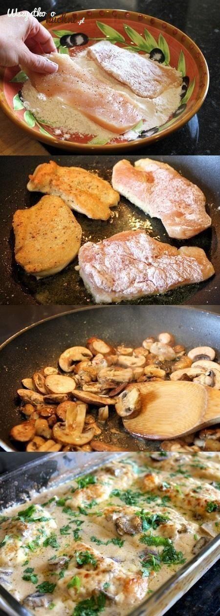Przepis na filety z kurczaka zapiekane w sosie śmietanowo - grzybowym...