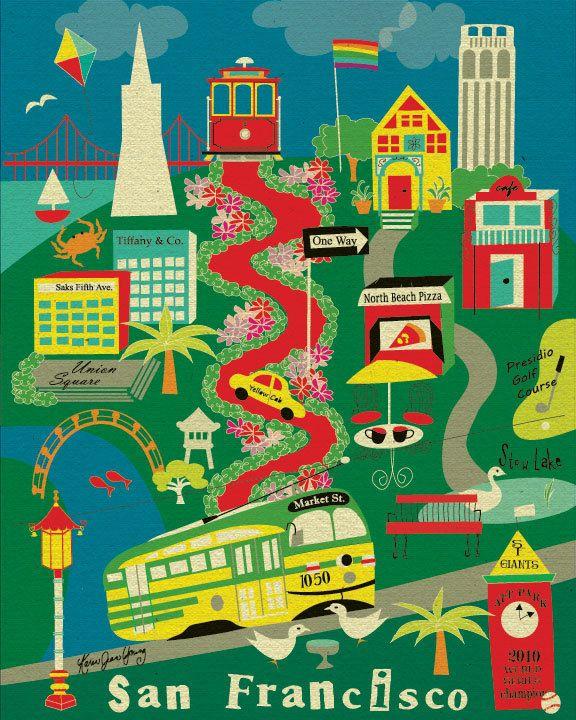 Collage Map of San Francisco, California - City Art Poster Print Wall Art for Home, Office, Dorms, Nurserys -  style E8-O-SF4. \via Etsy.