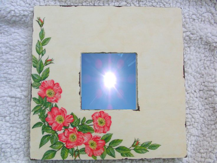 Mirror with roses. Aged with two colors and bitumen.
