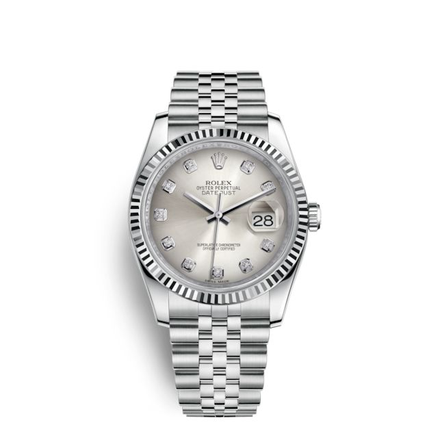 Discover the Datejust 36 watch in White Rolesor - combination of 904L steel and 18 ct whitegold on the Official Rolex Website. Model: 116234-$9400
