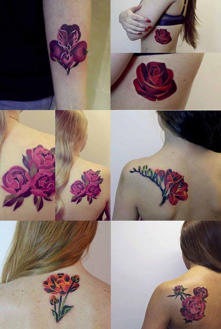 Flowers tattoos Sasha Unisex / Esta artista rusa hace unos tatuajes coloridos y originales en base a acuarelas