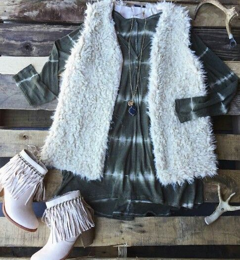 FAUX sherpa furry vest, fringe booties tie dye boho dress outfit. Southern Fried…