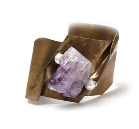 Cuff Brass, sterling silver, amethyst or pearls or smoky quartz, sterling silver, adjustable. de TheArtisansGalleryEC en Etsy