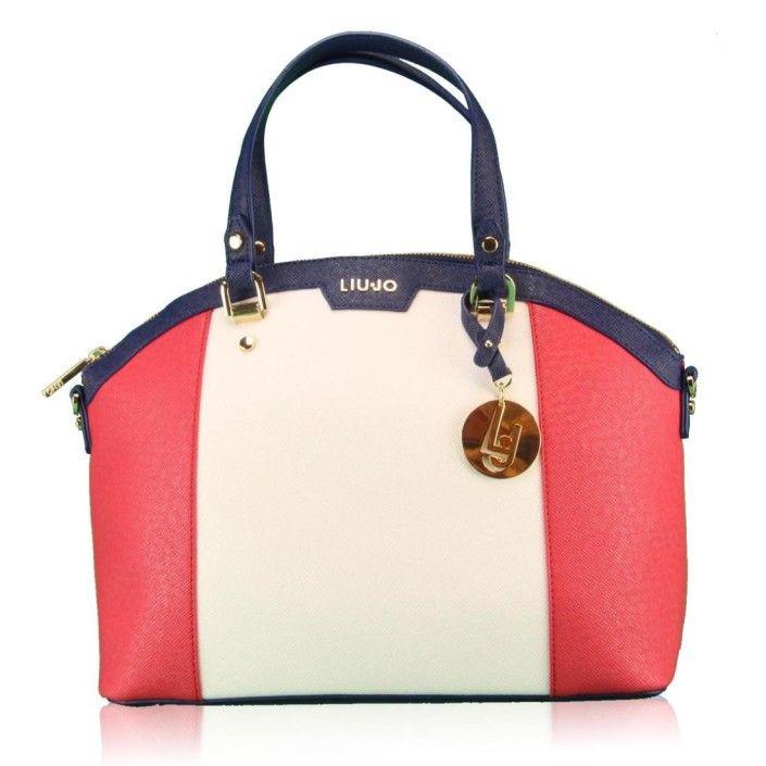 LIUJO Borsa Shopping M CANNES N16246 E0087 Rosso/Bianco/Blu
