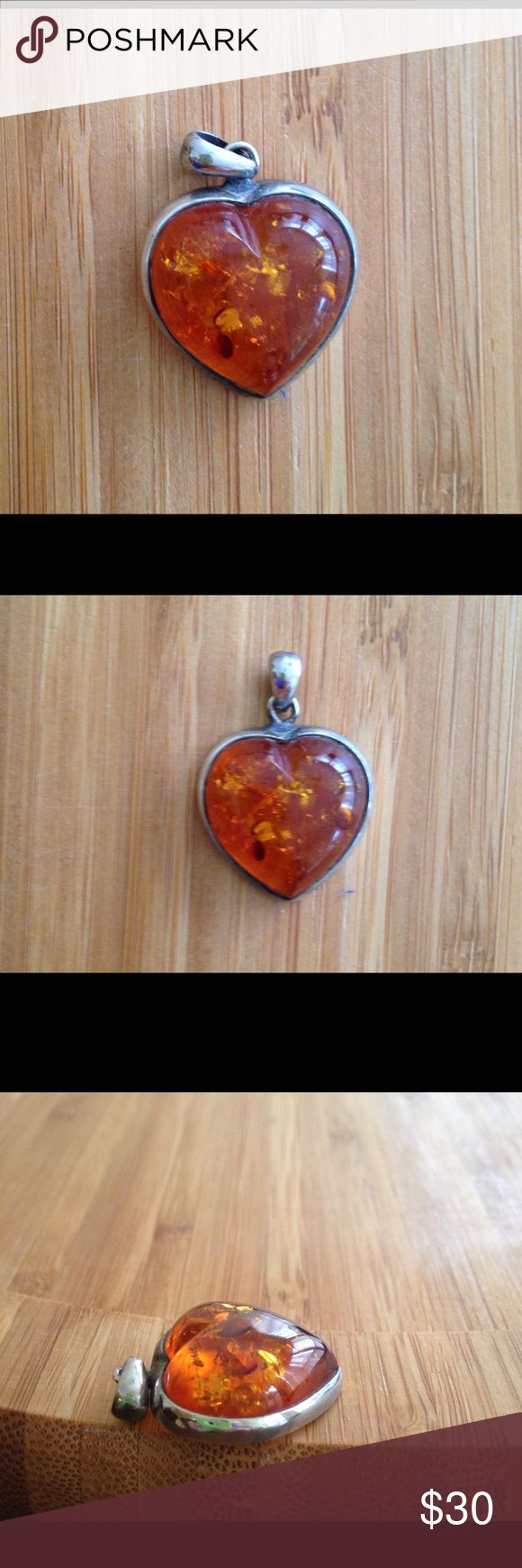 Amber Heart Sterling Silver Enhancer ~ Amber Heart Sterling Silver Enhancer ~ Jewelry Necklaces