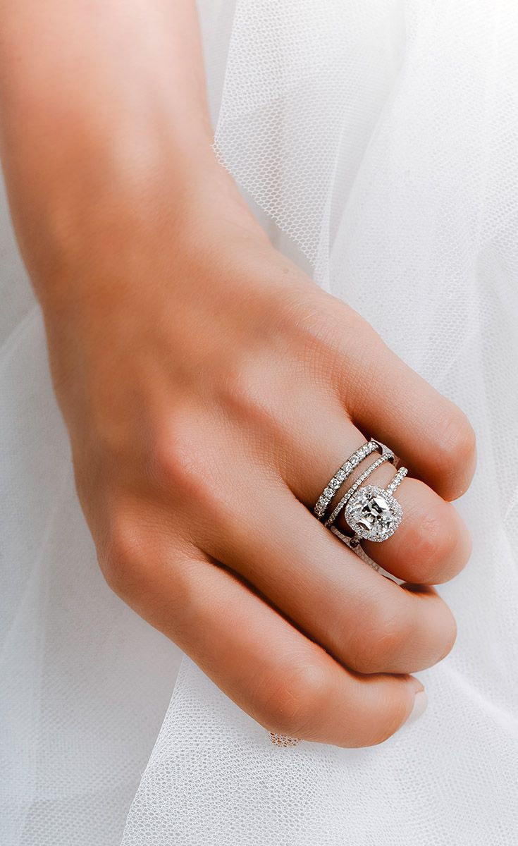 Custom Halo Engagement Ring By David Alan With Stacking Diamond