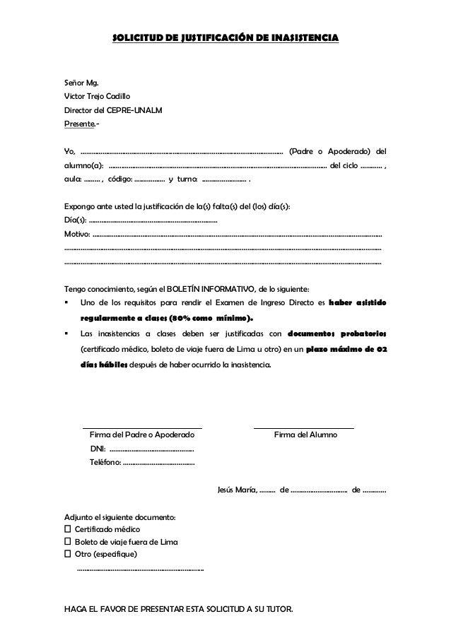 Solicitud De Justificacin De Inasistencia Seor Mg Victor Trejo