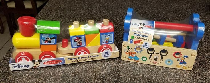 2 Adorable Toys! Mickey Mouse Clubhouse Wooden Tool Kit & Wooden Stacking Train  #NotApplicable
