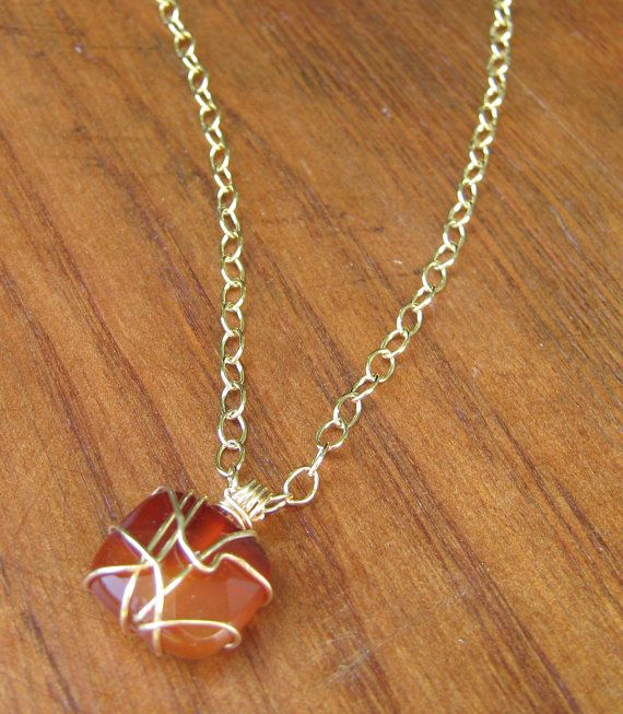 Orange carnelian hand wrapped in gold fill wire on a gold fill chain. High quality fine je... $64